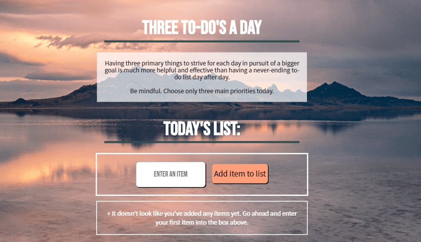 screenshot of Three To Do's A Day website