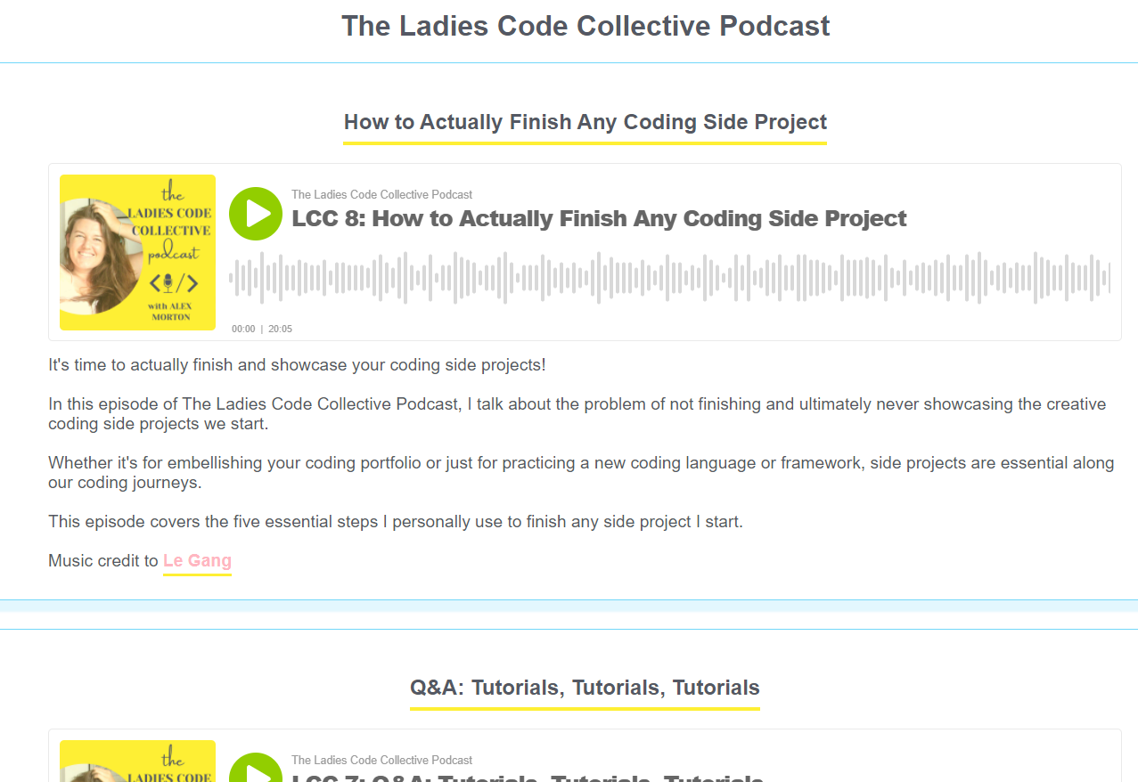 Ladies Code Collective UI